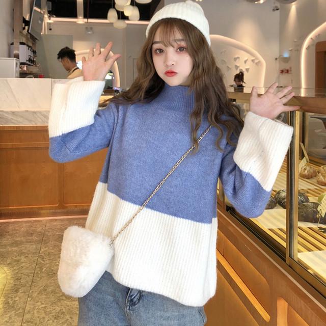 ニットトップス セーター Tシャツ パーカー レディースファション 新作 韓国風 シンプル デート ハイネック 長袖 配色 ゆったり ブルー 青い 可愛い