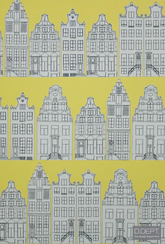 輸入壁紙【D.DEPT. ディーデプト/ ESTAhome】137712 イエロー 黄 街並み 建物 フリース