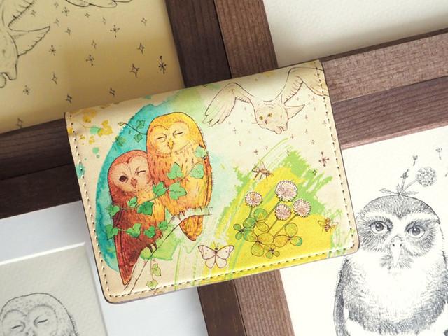 《送料無料/受注生産》フクロウたちと絵本の森のカードケース