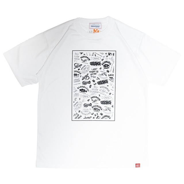【bassmania×GEECRACK】ランダムロゴ dry UV Tシャツ [WHT]  [限定生産] [8月上旬配送]