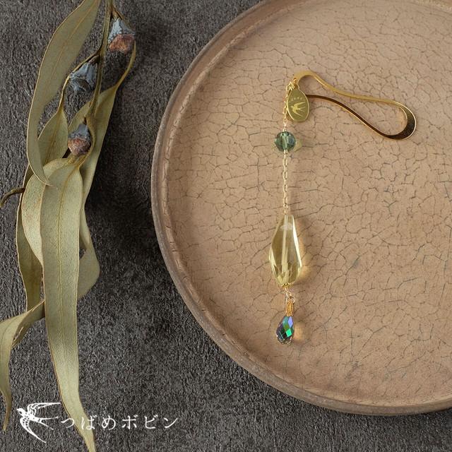 天然石とスワロフスキーの帯飾り《レモンクォーツ/A》