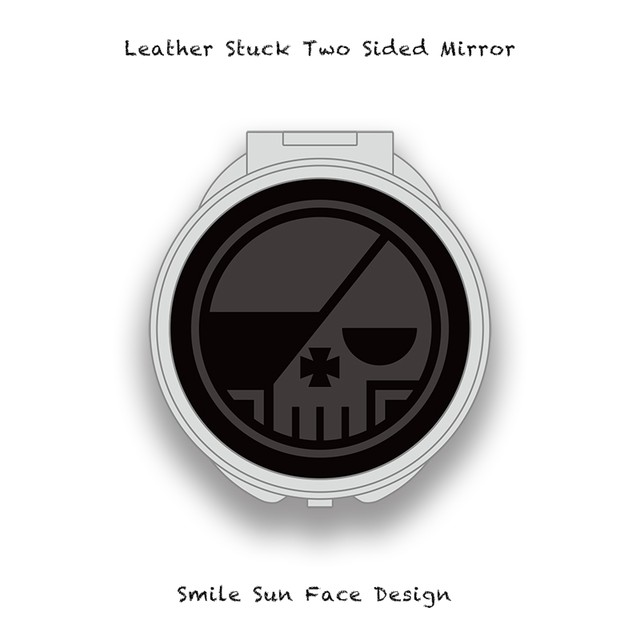 Leather Stuck Two Sided Mirror / Round Skull Design 001
