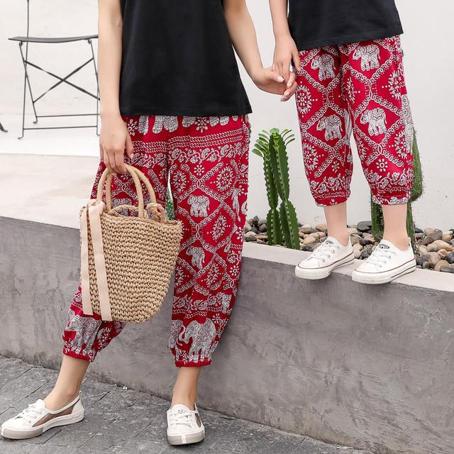 女性と 'ファッション夏の子供用ズボンファッション親子象パンツナインポイントパンツ サマー 夏物 feja旗舰店 feja旗舰店40059037465