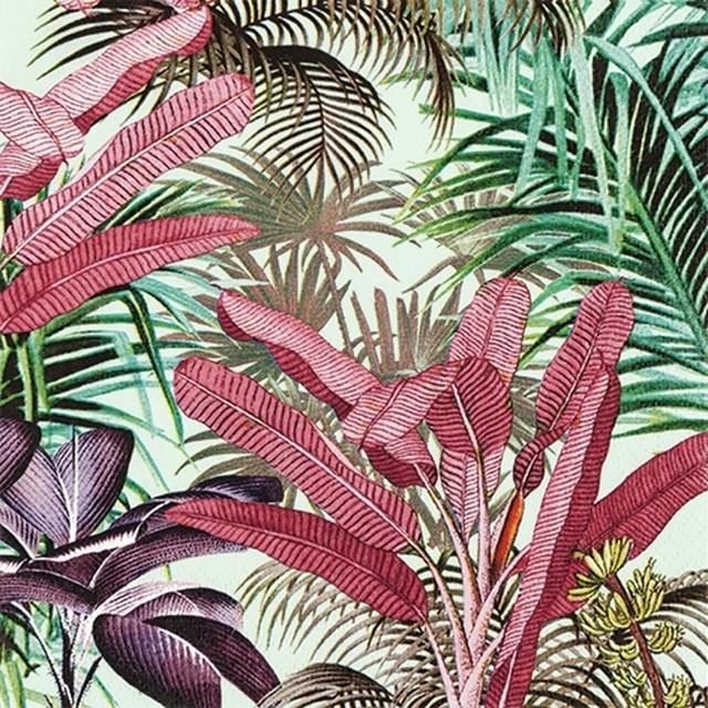 11月27日出荷|2020春夏【Home Fashion】バラ売り2枚 ランチサイズ ペーパーナプキン TROPICAL PLANTS グリーン