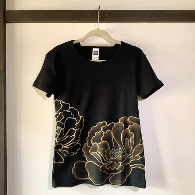 作家もの レディース半袖Tシャツ M 牡丹 黒
