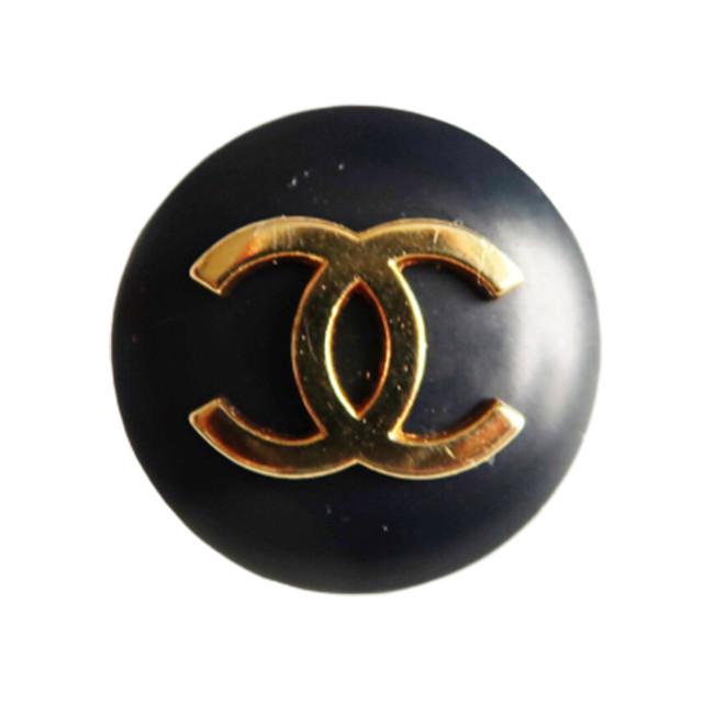 【VINTAGE CHANEL BUTTON】ゴールド BIGココマーク ボタン ブラック 2.3㎝