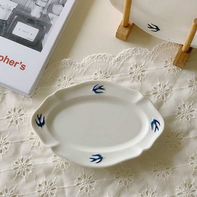 近日入荷予定 Swallow oval plate (M) / プレート /  韓国インテリア / kr-6