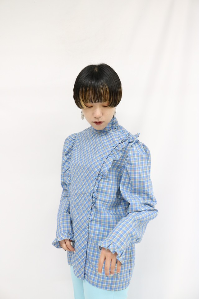 check pattern frill design blouse / 4SSTP20-05