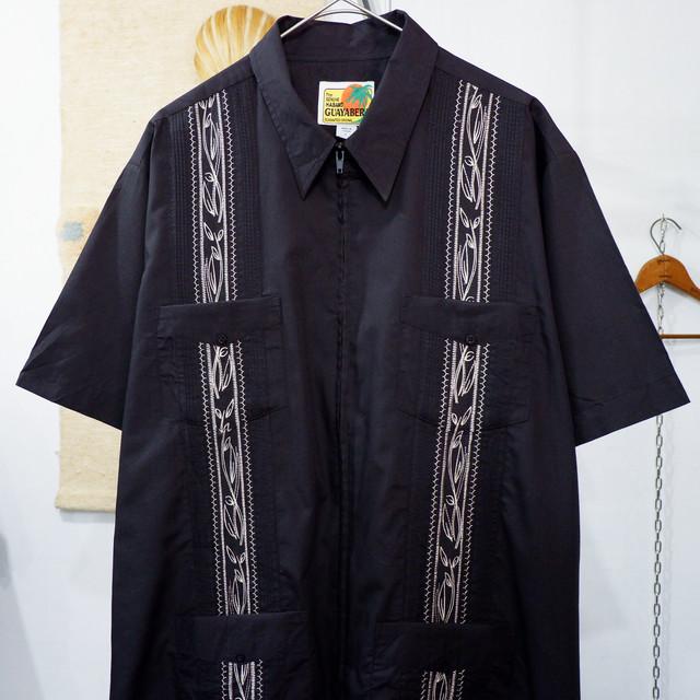 """アメリカ古着 Guayabera キューバシャツ """"ブラック"""""""