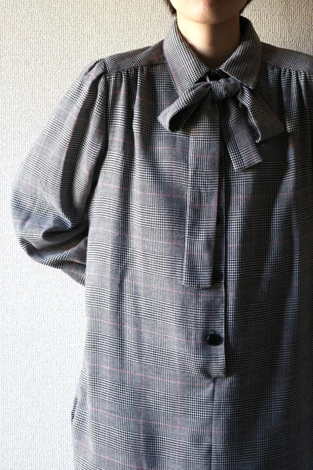 Vintage check bow tie dress