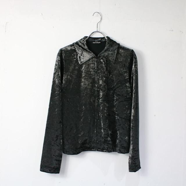 【美品】tricot COMME des GARCONS / トリココムデギャルソン   AD1992 90s 初期   ベロアジップアップシャツ   -   メタリックブラック   レディース