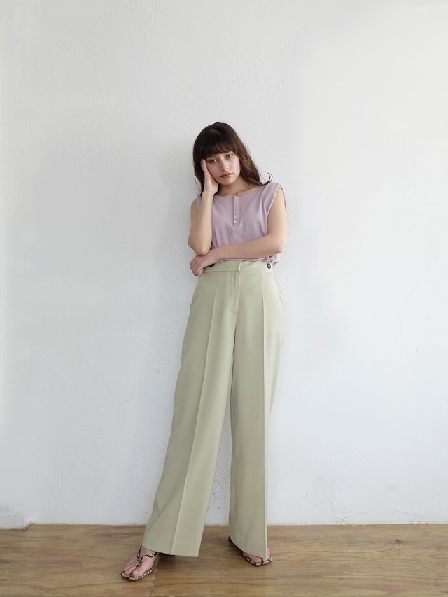 color wide slacks(mint)