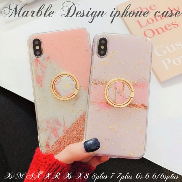 iphoneXs XR XsMAX iphone8 7 6s ケース アイフォン スマホケース ソフト 大理石 バンカーリング きらきら 金箔 かわいい トレンド マーブル 大人可愛い 上品 お洒落