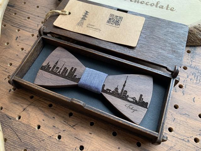 「東京の街並み」木製 蝶ネクタイ #CityContrast TOKYO - メイン画像