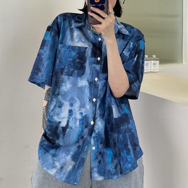 【トップス】ストリート系プリントゆるリラックスシングルブレストシャツ43701627