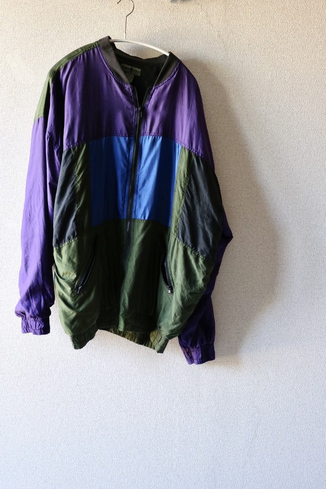 Vintage panel silk blouson