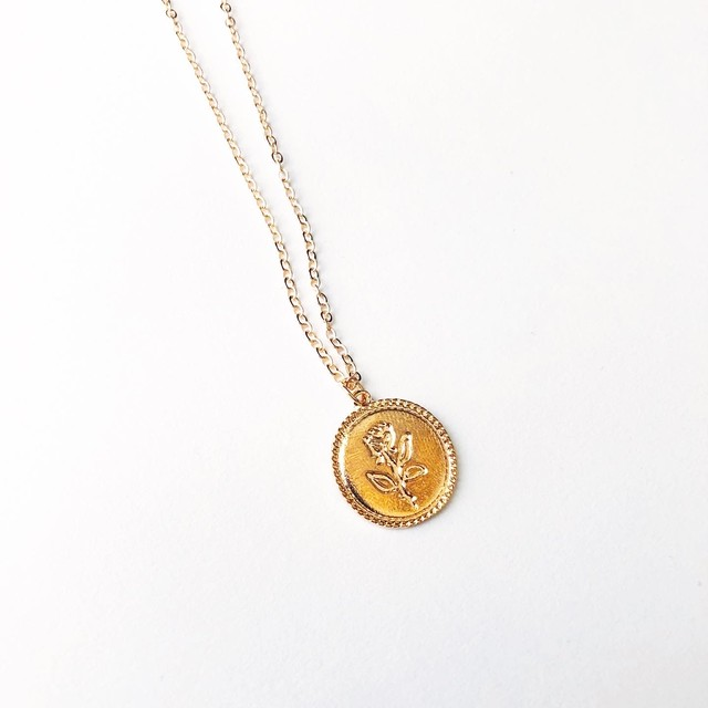 Rose plate long necklace (ローズプレートロングネックレス)}