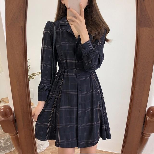【dress】スリムチェック柄肌触り良いワンピース
