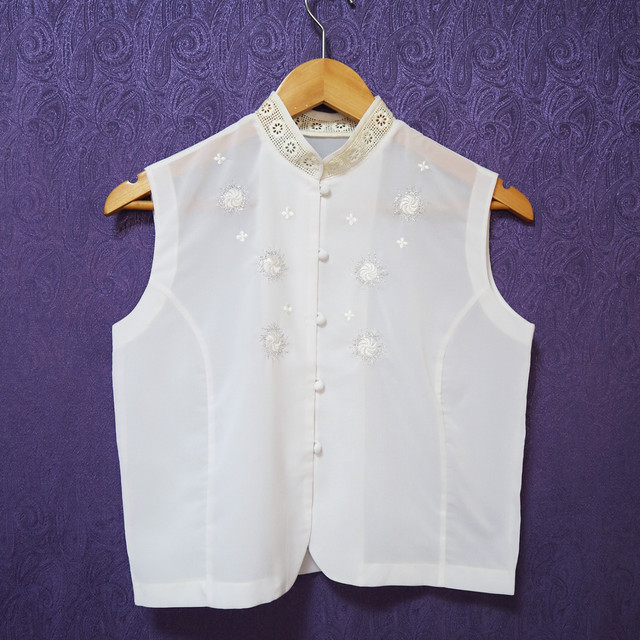 Embroidered white china tops