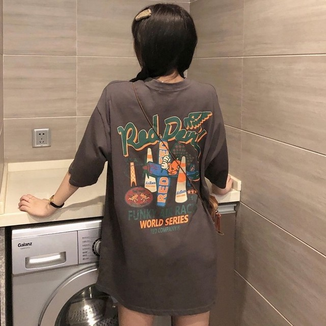 【トップス】激売れ中カジュアルプリントラウンドネックプルオーバー半袖Tシャツ42536513