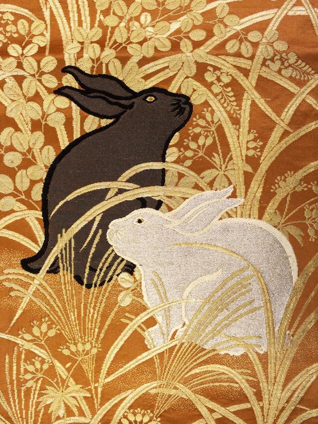 秋草と兎 名古屋帯