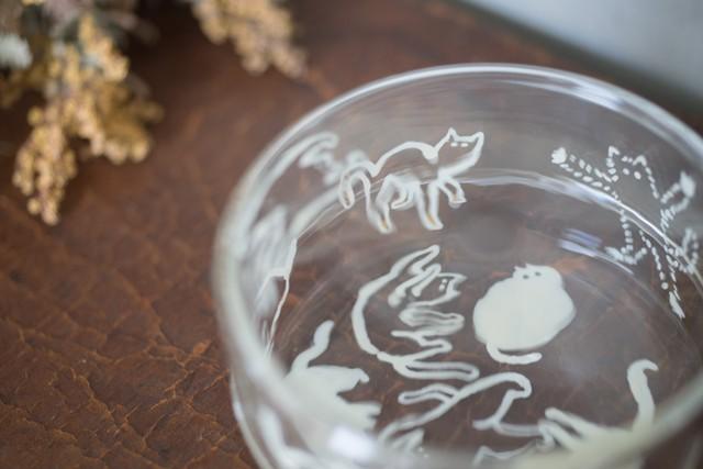 大家三佳 ガラスの器 「ねこの楽園(蓋物)」 【om_0006】
