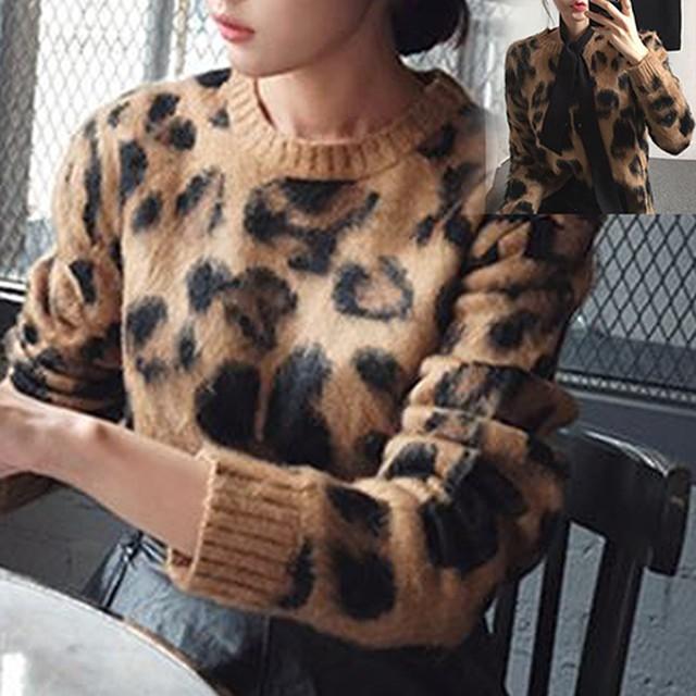 全2色 ヒョウ柄 セーター ショート丈 長袖 クルーネックニット