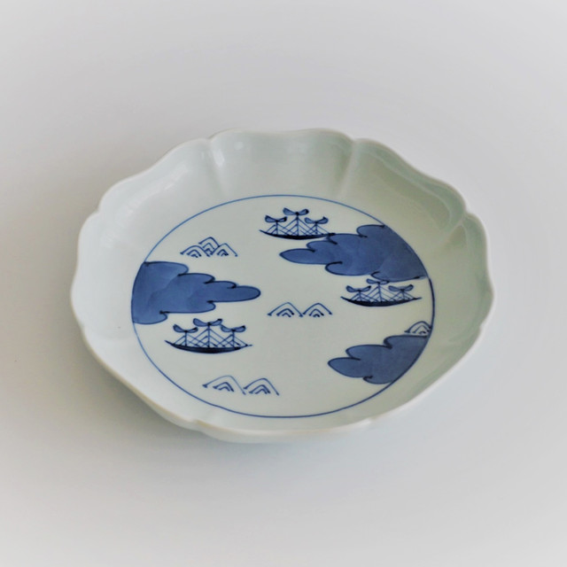 432 クラシック・シリーズ 八方割6寸皿 雲間取帆船