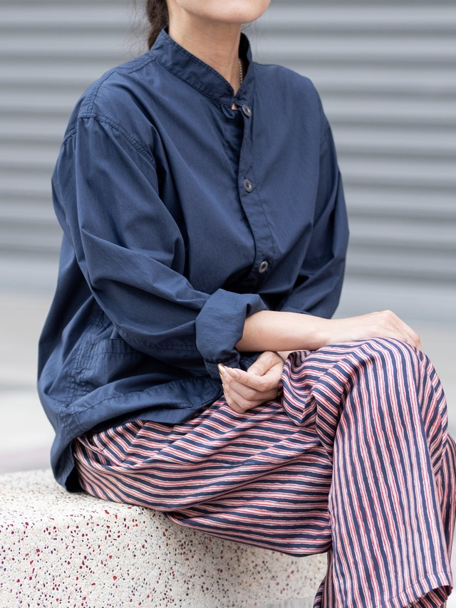【HTS】COTTON STAND COLLAR COVER-ALL STRIPE