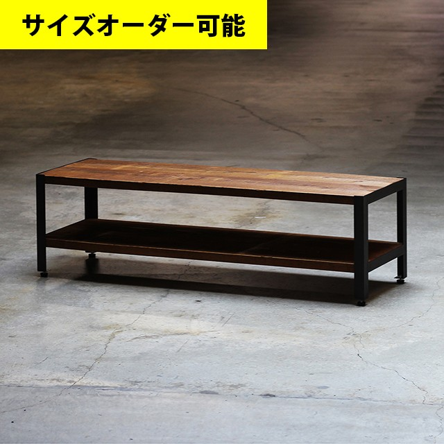IRON FRAME LOW SHELF 114CM[BROWN COLOR]サイズオーダー可
