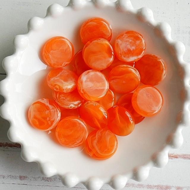 【461b-p2】4pcs  ストーン調 コイン アクリルビーズ オレンジ15×4.5mm