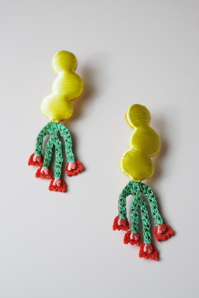 ARRO / Embroidery earring / NOI / lemon