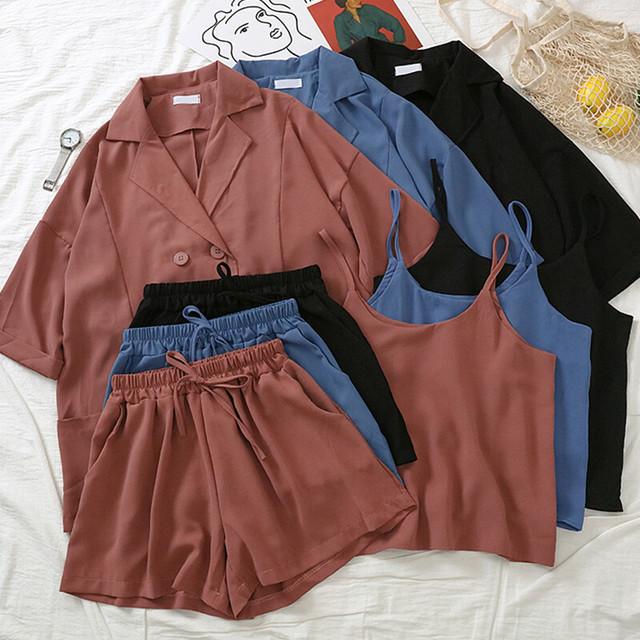 半袖セットアップ ジャケット+パンツ+キャミソール 3カラー RPSET9041402