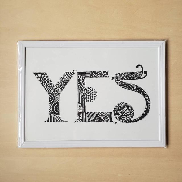 【B5ポスター・フレーム付・ホワイト】YES(New Language, New Communication)