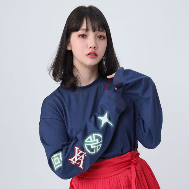 【FLOWER by RADIO EVA 020】EVA Big Monogram Neon Long T-Shirt NAVY /  EVANGELION エヴァンゲリオン