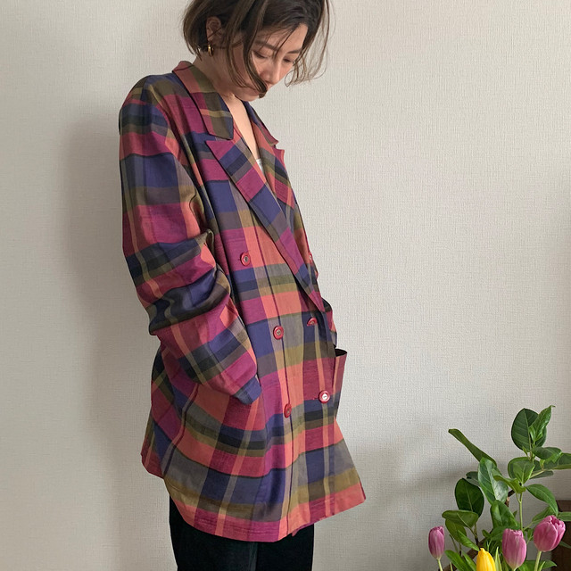 80's vintage colorful plaid double jacket with pockets