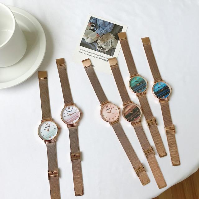 【小物】insレトロメッシュベルト ウォッチ合わせやすい配色腕時計