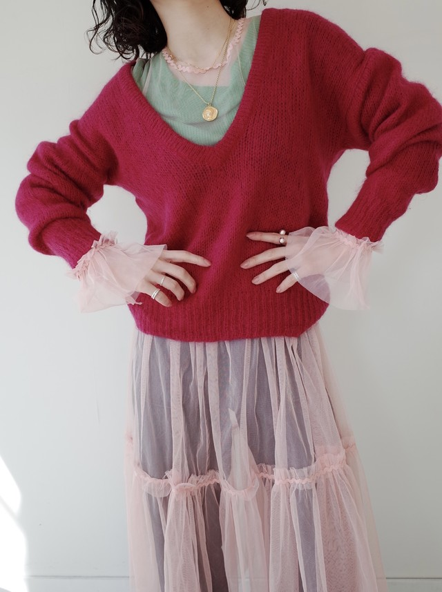 used v-shaped mohair knit