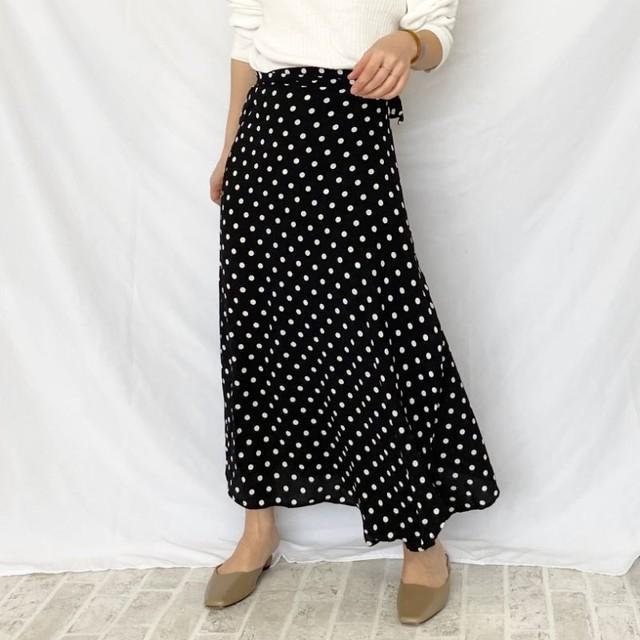 ◆即納◆ ドット柄 巻きスカート ラップスカート ロング マキシ丈 水玉 d01