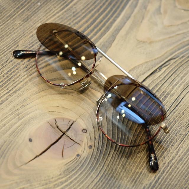 1sin×金子眼鏡 innovatorⅤ クリップオンサングラス・眼鏡 シャンパンゴールドべっこう柄ブラウンセル巻×ブラウンレンズ