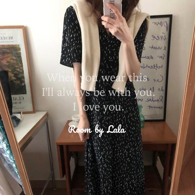 【お取り寄せ】Summer long dress  black / ワンピース / LE-158