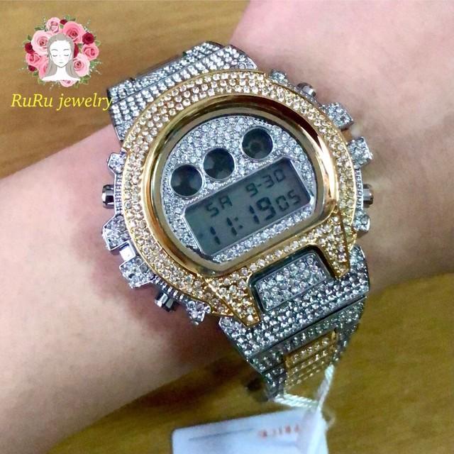 ラウンドカスタム腕時計(全周ダイヤモンドCZ)