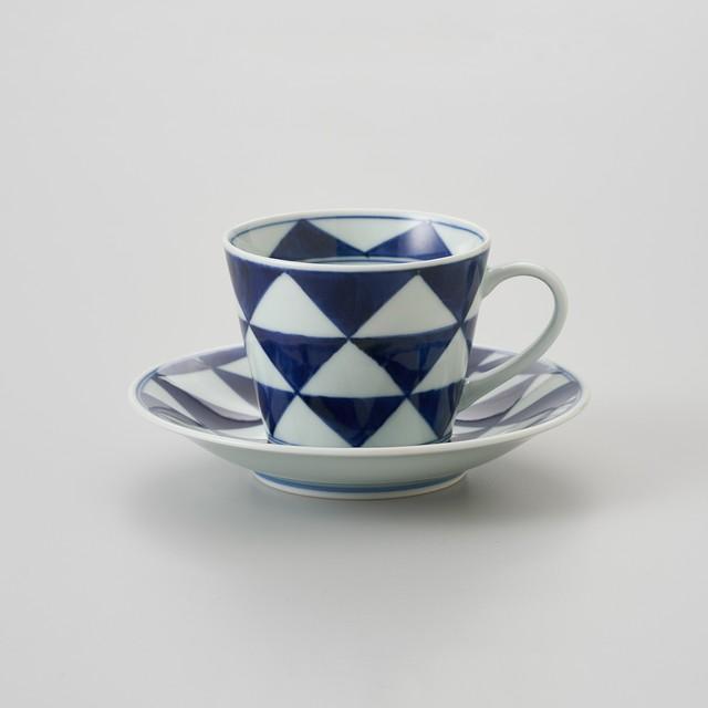 【青花】うろこ紋 ソバ型コーヒー碗皿