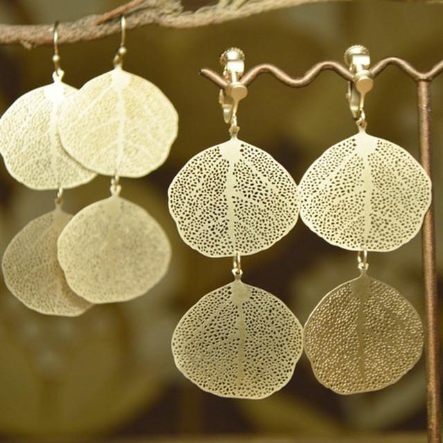 真鍮 葉脈2枚 ゴールド ピアス&イヤリング