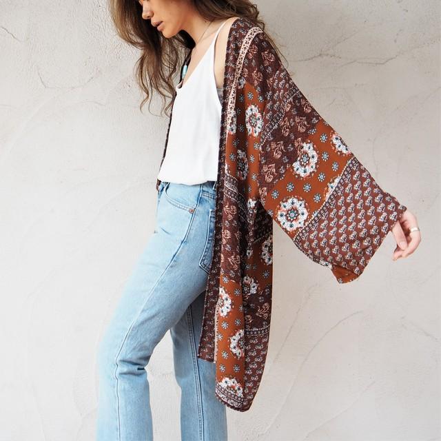 Chiffon Kimono Cardigan E《BRN》18383085-e  S5