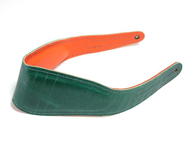 【クロコ調・型押し】特別仕様パッド:グリーン×オレンジ【スタンダードパッド】