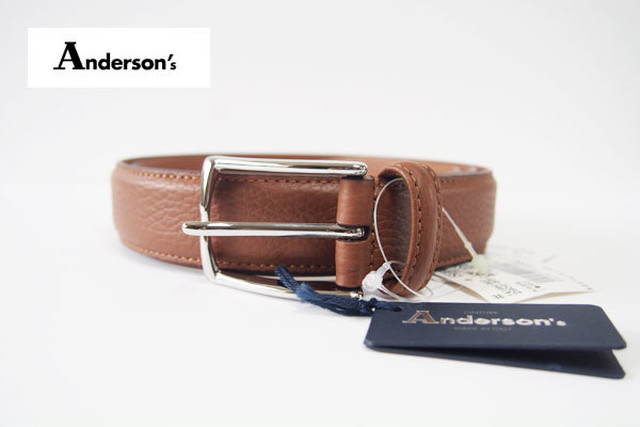【Sold Out】アンダーソンズ|Anderson's|3センチ幅 カーフベルト|95|ダークブラウン|グレインレザー
