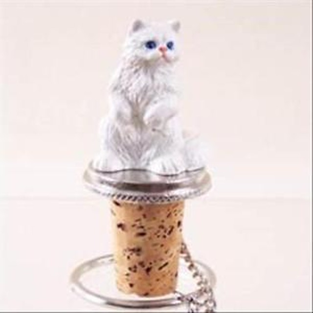 【送料無料】ペルシアワインボトルストッパーpersian white cat hand painted resin figurine wine bottle stopper