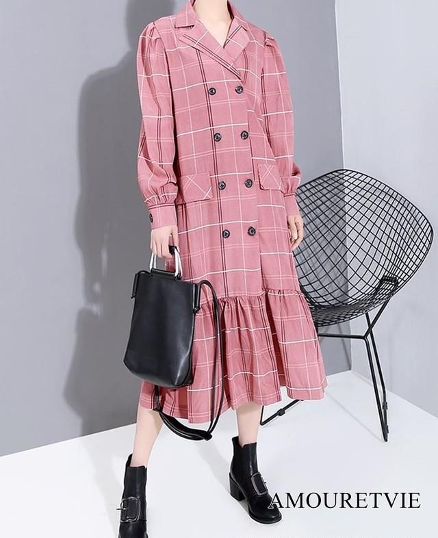 ワンピース ダブルブレスト チェック柄 ドレス 長袖 ベルト付き ピンク カーキ スーツ モード系 ヴィジュアル系 1064