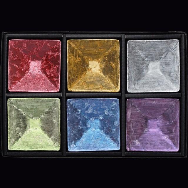 麟 角型豆皿セット 6色組 AL-3780 SET〔有田焼なのにメタリックが幻想的で美しい麟-LIN-シリーズ〕